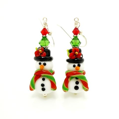 Snowman,Earrings,Handmade, Handcrafted, Lampwork, Glass, Earrings, Jewelry, Christmas, Snowman, Snowmen, Christmas Earrings, Lampwork Earrings, Lampwork Glass Earrings, Handmade Lampwork Jewelry, Beadz and More, Handcrafted Bead Jewelry, Glass Beads Jewelry