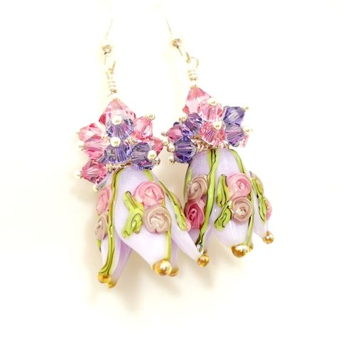 Purple,Floral,Tulip,Earrings