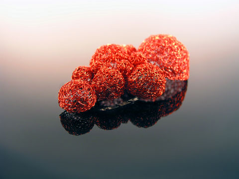 Brooch of red copper bubbles - product images  of
