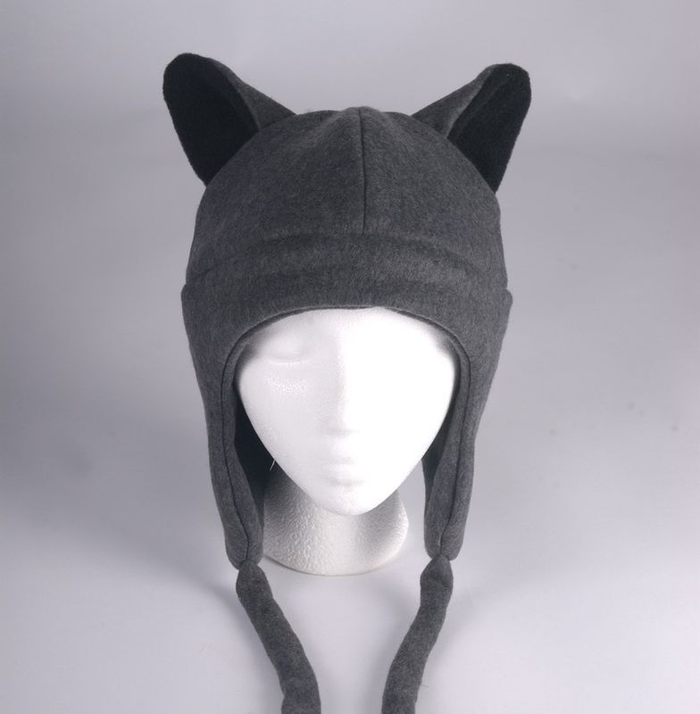 Fleece Wolf Hat - Gray Aviator Style Teen Wolf Hat - product image