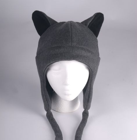 Fleece,Wolf,Hat,-,Gray,Aviator,Style,Teen,Accessories,Animal,gray,werewolf,aviator,cosplay,goth,ear_flap,grey,teen_hat,teen_wolf,wolf_hat,wolf_ears,mens_hat,womens_hat,fleece
