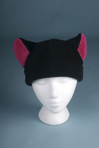 Fleece,Kitty,Cat,Hat,-,Black,/,Pink,Ear,Womens,Girls,Accessories,Beanie,snow,warm,black,pink,lolita,kitty_cat,anime,rave,cat_ear_hat,womens_hat,girls_hat,neko_hat,fleece_hat,fleece