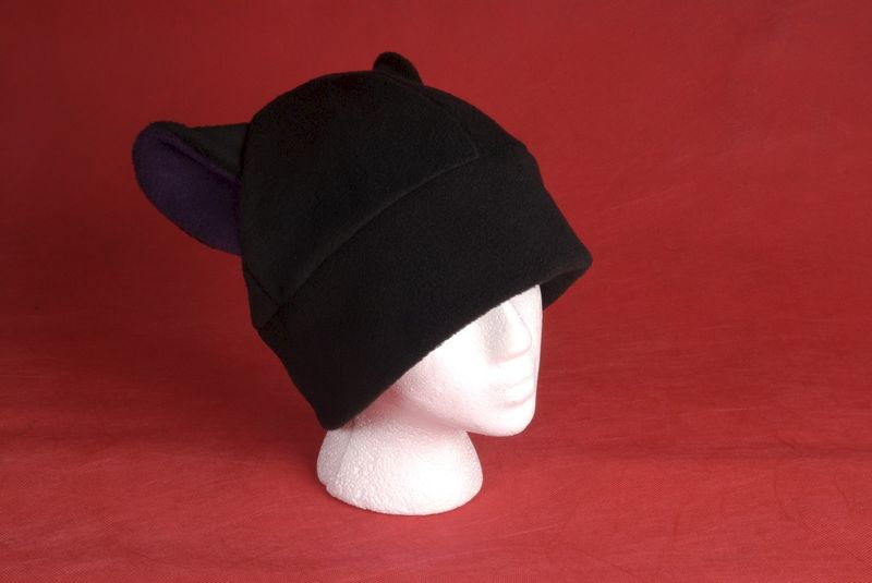 Fleece Kitty Cat Hat - Black / Aubergine Eggplant Purple Cat Ear Hat - product image