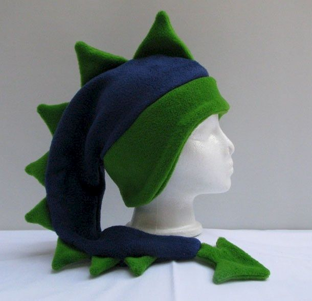 Fleece Dragon Hat - Blue / Green Dinosaur Denim / Lime - product image