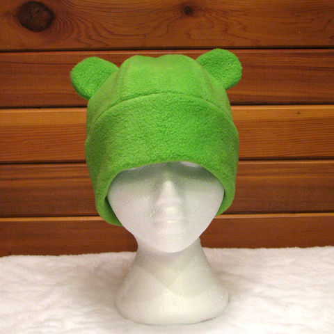 Gummy,Bear,Fleece,Hat,-,Lime,Green,Accessories,Animal,animal_hat,bear_hat,fleece_hat,anime_hat,rave_hat,lime_green,gummy_bear,teddy_bear,kawaii,fun_hat,womens_hat,mens_hat,bear_ears,fleece