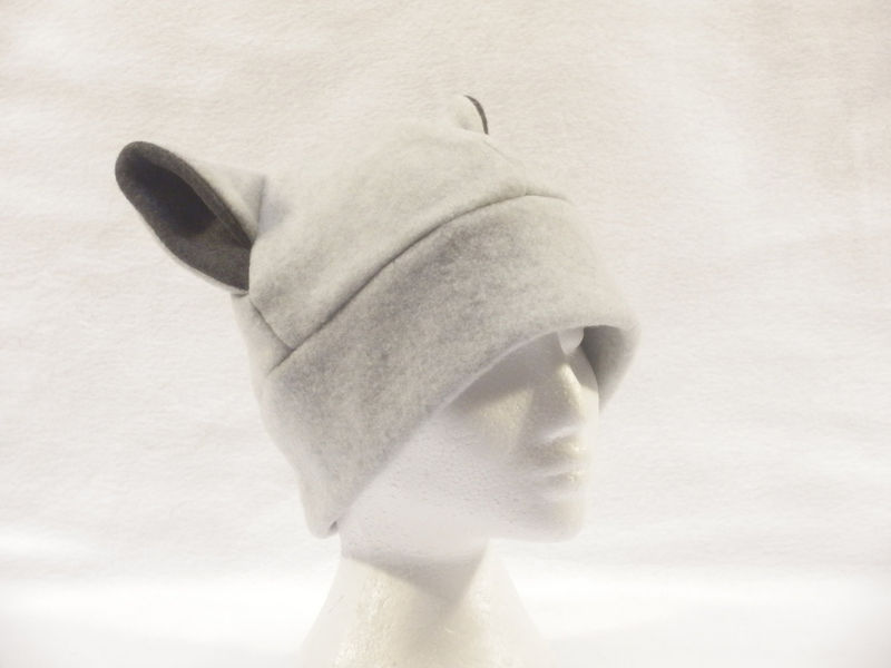 Silver Cat Ear Hat Mens Womens Kitty Cat Beanie - product image