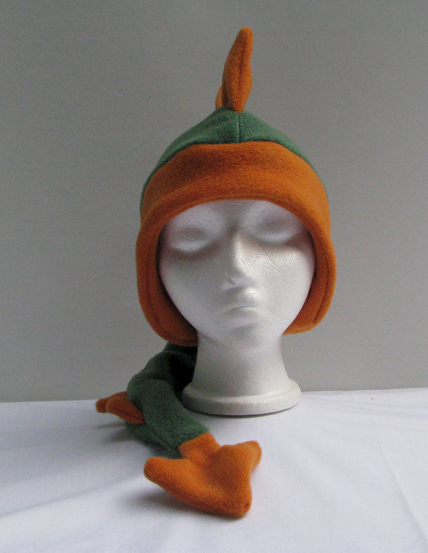 Green Dinosaur with Orange Spikes Fleece Hat - product image