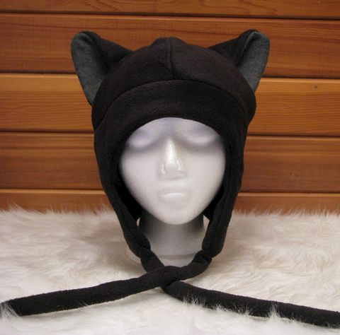 Cat,Ear,Hat,-,Black,/,Grey,Fleece,Kitty,Flap,Aviator,Accessories,Animal,black,grey,kitty_cat,goth,neko,cat_ear_hat,anime_hat,cat_hat,ear_flap_hat,aviator_hat,winter_hat,mens_hat,womens_hat,fleece