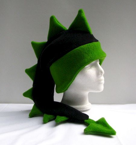 Dragon,Hat,-,Black,/,Green,Fleece,Accessories,Animal,green,dragon,dinosaur,mohawk,black,lime,ear_flap,dragon_hat,dinosaur_hat,rave_hat,monster_hat,snowboarding_hat,mens_hat,fleece