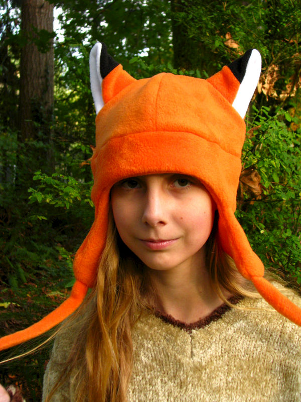 Fox Hat - Orange Aviator Style with Ear Flaps - product image