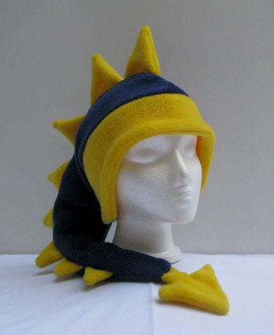 Fleece,Dragon,Hat,-,Denim,Blue,/,Yellow,Accessories,Ear_Flap,blue,dragon,spike,yellow,fleece_animal_hat,mens_hat,womens_hat,childrens_hat,winter_hat,snow_hat,warm_hat,boys_hat,dinosaur_hat,fleece