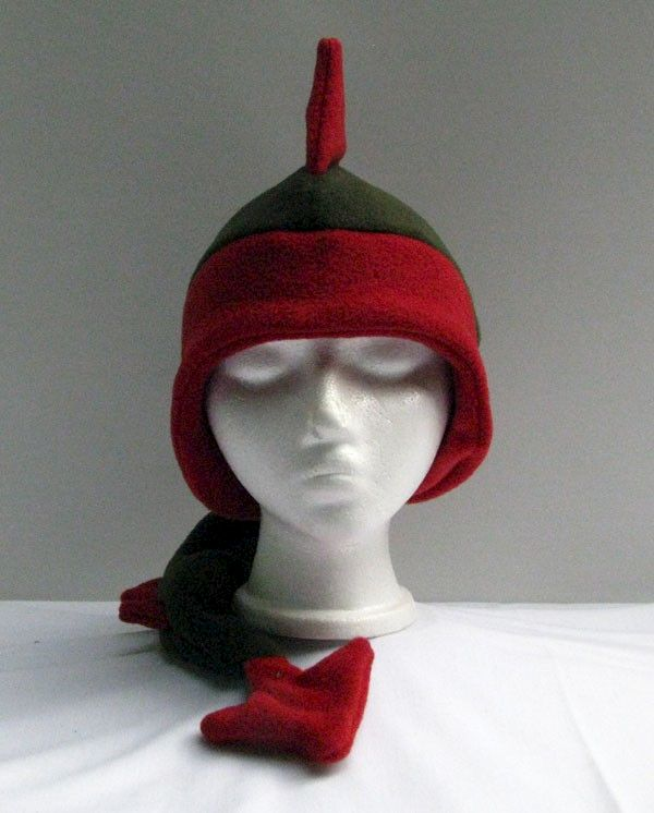 Fleece Dragon Hat - Green / Red Ear Flap - product image