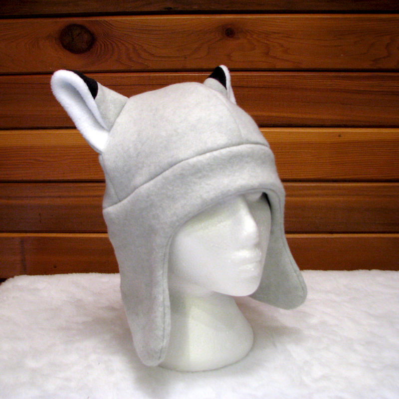 Silver Fox Ear Hat - Light Gray Animal Fleece Hat with Ear Flaps - product image