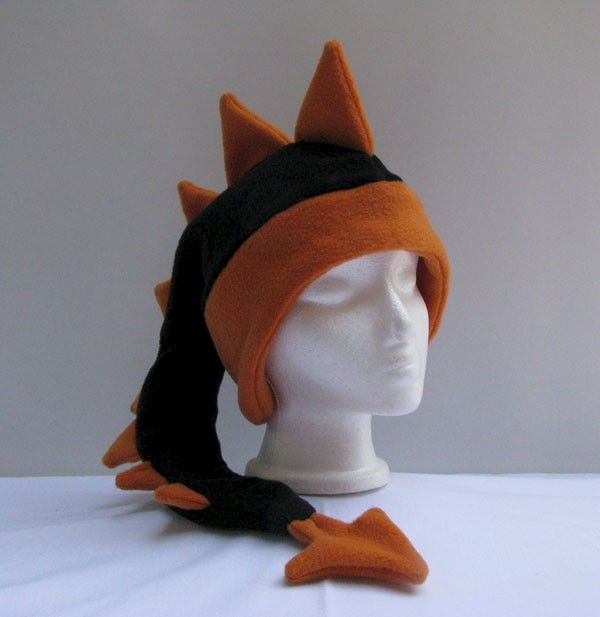 Dragon Hat - Black / Orange Fleece - product image