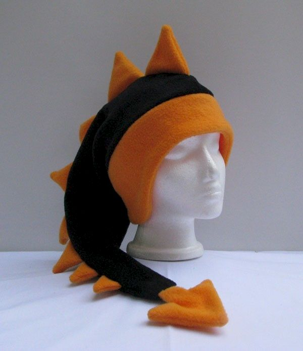 Dragon Hat - Black / Bright Orange Fleece - product image