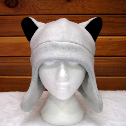 Silver,Wolf,Ear,Hat,-,Light,Gray,Fleece,Animal,with,Flaps,Accessories,animal_hat,wolf_hat,werewolf,silver,grey,gray,wolf_ears,fleece_hat,ear_flaps,halloween,teen_wolf,mens_hat,womens_hat