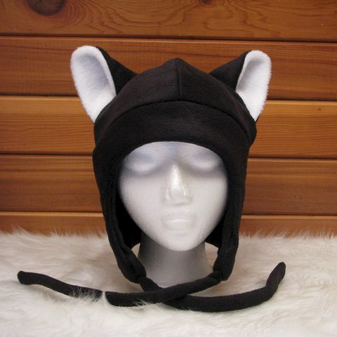 Fleece,Kitty,Cat,Hat,-,Black,/,White,Aviator,Style,Accessories,Ear_Flap,black,kitty_cat,anime,cosplay,winter,neko_ear_hat,animal_ear_hat,cat_ears,womens_hat,mens_hat,animal_hat,snowboard_hat,ski_hat,fleece