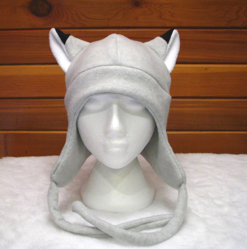 Silver Fox Aviator Hat - Light Gray Fleece Fox Ear - product image