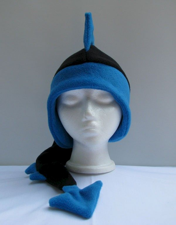 Fleece Dragon Hat - Black / Peacock Blue - product image