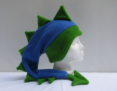 Fleece,Dragon,Hat,-,Royal,Blue,/,Lime,Green,Geekery,Accessory,dragon,dinosaur,mohawk,ear_flap,royal_blue,lime_green,dragon_hat,dinosaur_hat,animal_hat,fantasy_creature,mens_hat,boys_hat,fleece_hat,fleece