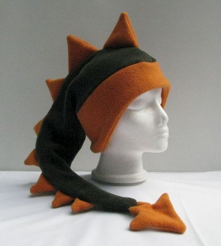 Fleece,Dragon,Hat,-,Dark,Green,/,Orange,Accessories,Ear_Flap,green,orange,dragon,dinosaur,winter,ski,mohawk,snow,tail,winter_hat,spike_hat,boys_hat,mens_hat,fleece
