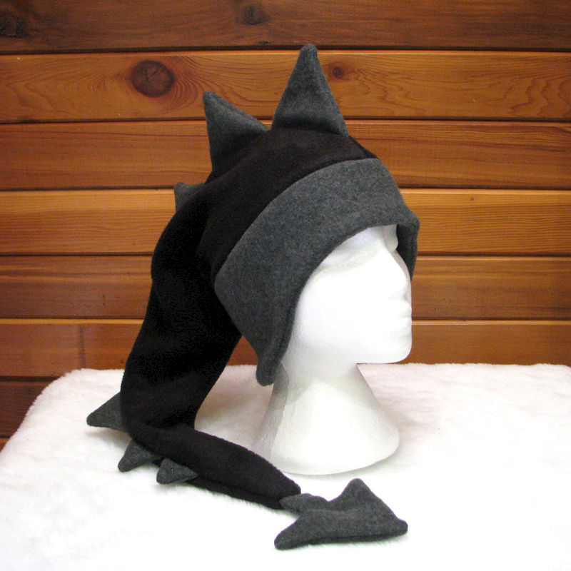 Fleece Dragon Hat - Black / Grey - product image