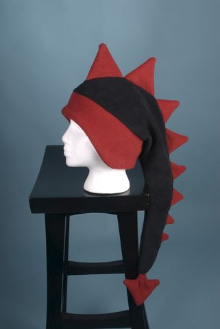 Dragon,Hat,-,Black,/,Red,Fleece,Dinosaur,Spiked,Geekery,Accessory,dragon,dinosaur,mohawk,winter,ear_flap,red,dragon_hat,dinosaur_hat,animal_hat,monster,mens_hat,childrens_hat,fleece_hat,fleece