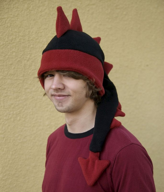 Dragon Hat - Black / Red Fleece Dinosaur Spiked Hat - product image