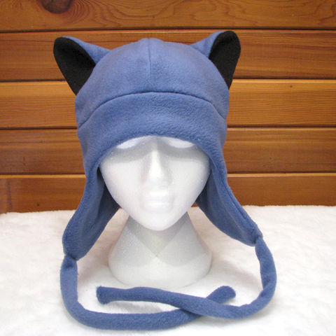 Blue,Fleece,Ear,Flap,Wolf,Hat,-,Aviator,Style,ningen,Accessories,Animal,wolf_hat,wolf_ears,slate_blue,black,ear_flap,mens_hat,winter_hat,etk,wolf,werewolf,animal_hat,anime,teen_wolf_hat,fleece