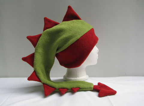 Sage,Green,and,Red,Dragon,Hat,ningen,Accessories,Ear_Flap,animal_hat,dragon_hat,dinosaur_hat,mohawk,spikes,sage_green,red,fleece_hat,mens_hat,winter_hat,monster_hat,boys_hat,Christmas_hat,fleece