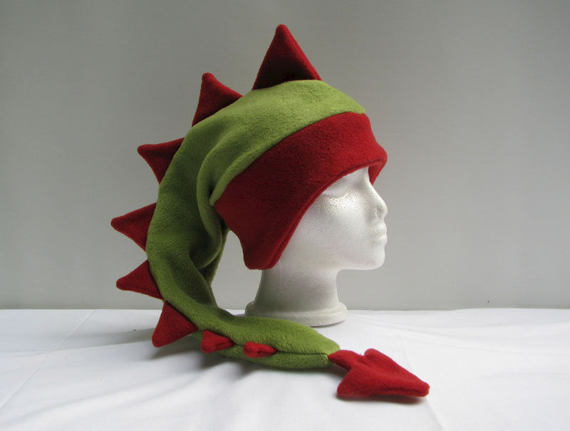 Sage Green and Red Dragon Hat - product image