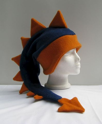 Denim,Blue,/,Orange,Dragon,Hat,ningen,Accessories,Ear_Flap,dragon,spike,monster_hat,mens_hat,childrens_hat,snow_hat,warm_hat,animal_hat,spike_hat,dinosaur_hat,dragon_hat,stocking_hat,halloween_hat,fleece