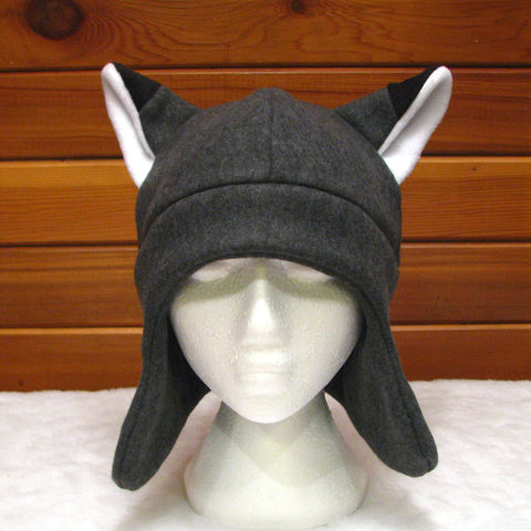 Gray,Fleece,Fox,Ear,Flap,Hat,ningen,Accessories,Animal,fox_hat,fox_ears,kitsune_hat,grey,gray,mens_hat,womens_hat,teen_hat,winter_hat,anime_hat,rave_hat,snowboarding_hat,fox_ears_hat,fleece