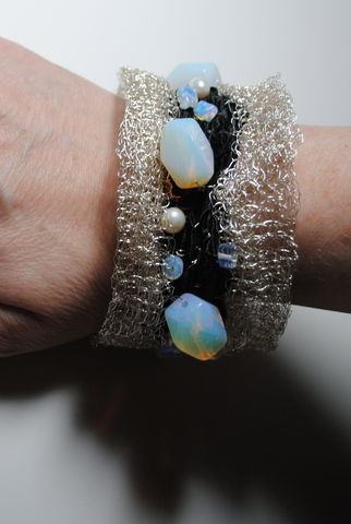 opal,and,pearl,cuff, bracelet, silver, mesh, opal, pearl, freshwater pearls