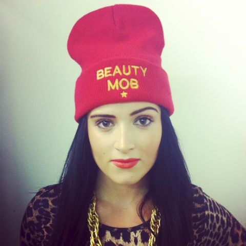 Beauty,Mob,Red,'VIDA,LOCA',Beanie,Hat,Hats Beanies Knitted Beauty Mob Fashion