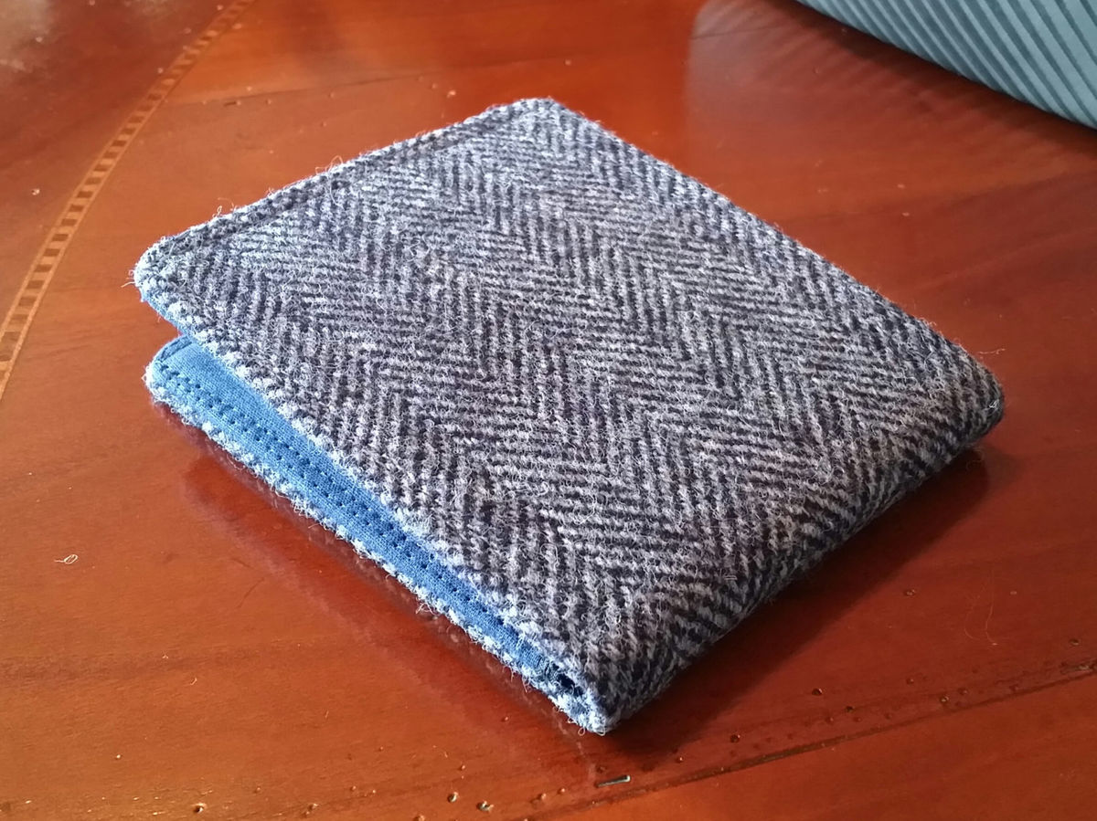 Mens Minimalist Wallet,  Slate Gray tweed herringbone  billfold, 7 Pocket  Slim Billfold, Wool wallet - product image