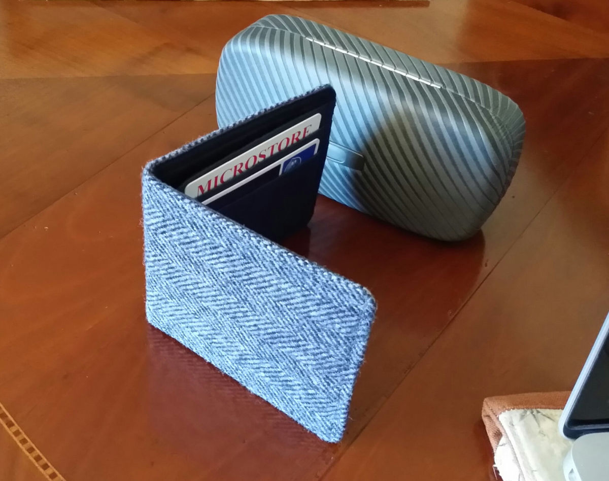 Mens Minimalist Wallet,  Slate Gray tweed herringbone  billfold, 7 Pocket  Slim Billfold, Wool wallet - product images  of
