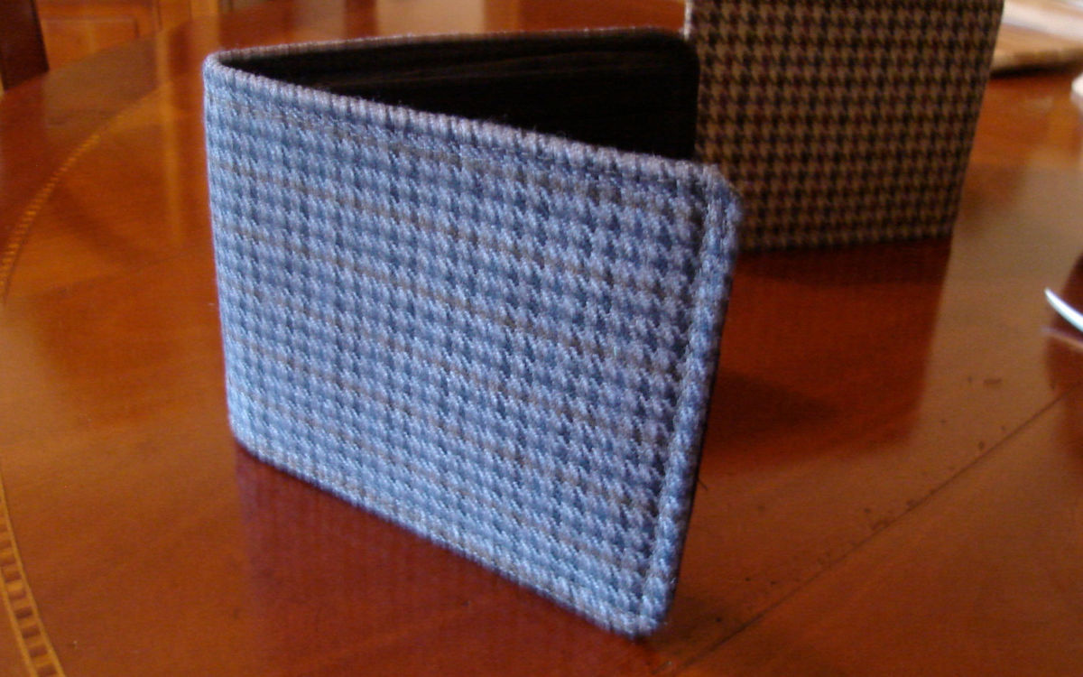 Blue mens wallet houndstooth minimalist  7 pocket billfold  slim dogtooth tweed  billfold - product images  of