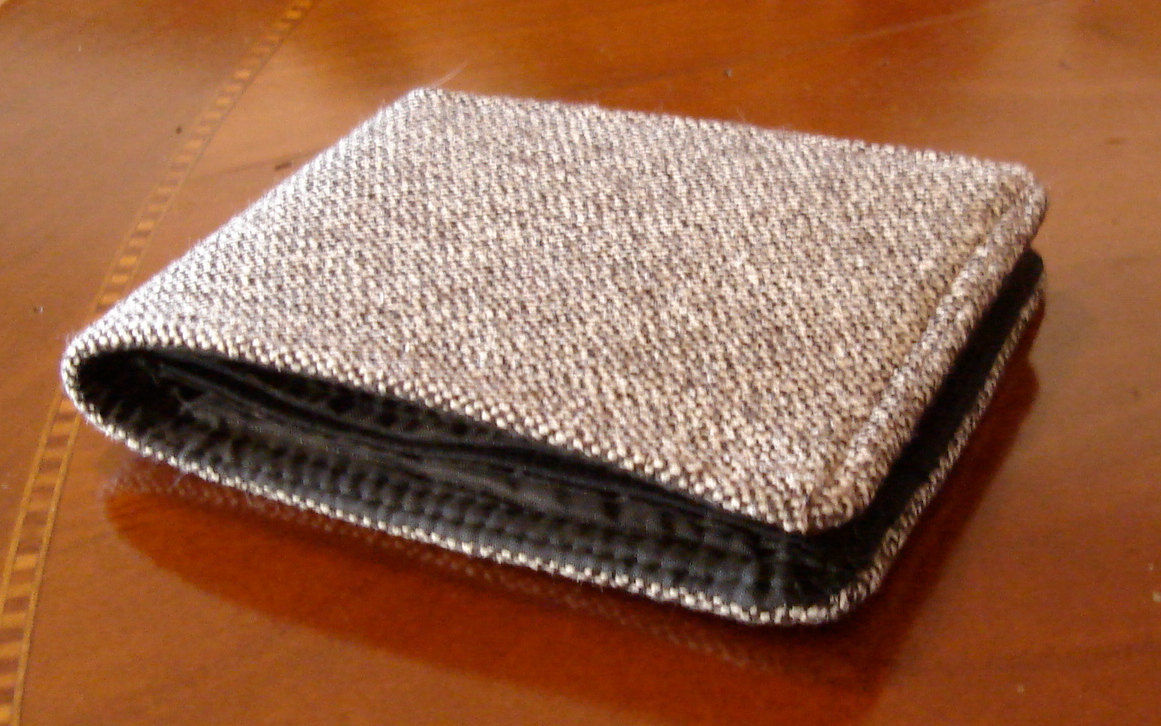 Mens wallet slim wallet grey brown tweed   7 Pocket Billfold Standard Size Minimalist - product image