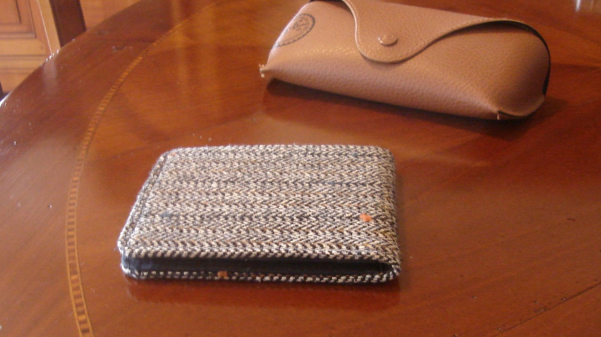 Mens slimline  Wallet,  petroleum blue card slot Gray, Mini Wallet, Speckled Herringbone,  Pinstriped Tweed 7 Pocket Billfold, - product image