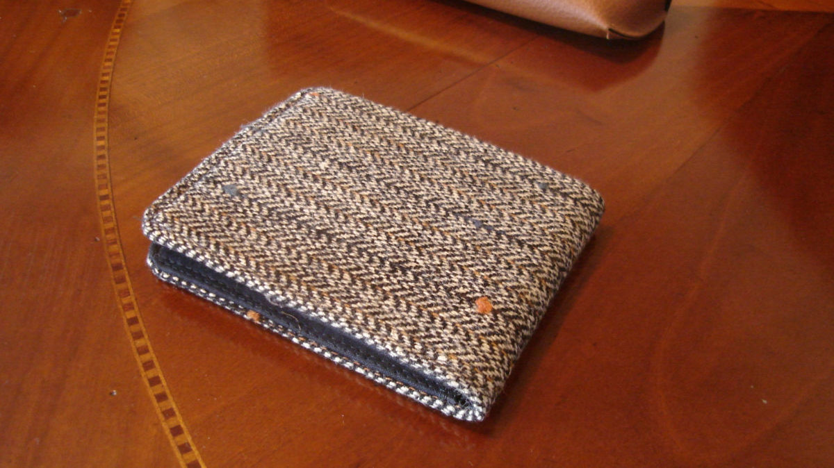 Mens slimline  Wallet,  petroleum blue card slot Gray, Mini Wallet, Speckled Herringbone,  Pinstriped Tweed 7 Pocket Billfold, - product images  of