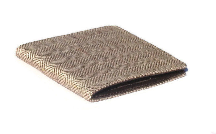 Personalised Men's Wallet Vegan Herringbone tweed Billfold 7 pocket Standard size bifold Coffee brown Lining Groomsmen gift - product image