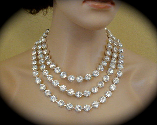 3 Strand Chunky Crystal Bridal Statement Necklace, 11mm - product images  of