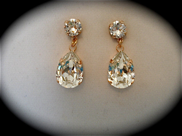 Rose Gold Crystal Teardrop Earrings - product images  of