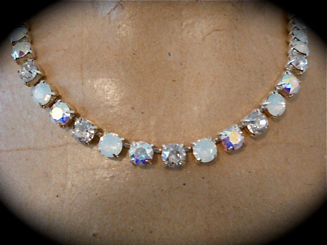 White Opal Crystal Bridal Necklace, Choker Or Princess Length - product images  of