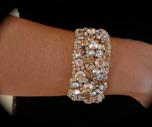 Golden Champagne Crystal Cuff Bracelet - product images  of