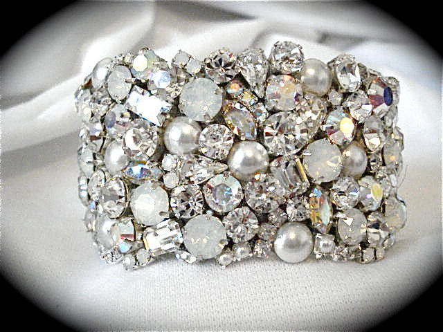 White Opal and Pearl Crystal Bridal Cuff - product images  of