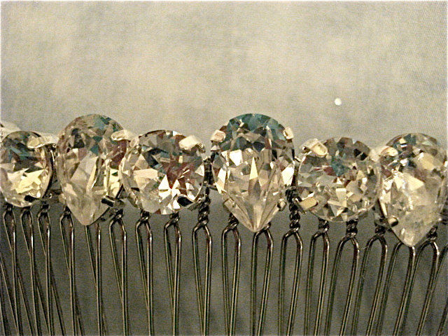 Crystal Teardrop Bridal Comb, Swarovski Crystal Bridal Comb - product images  of