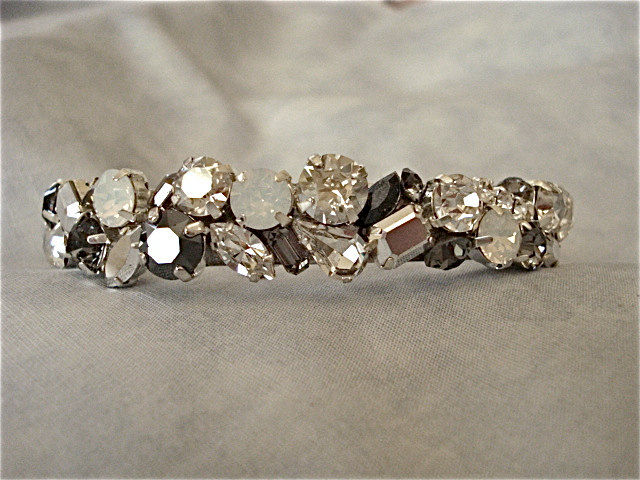 White Opal - Hematite Crystal Wedding Cuff - product images  of