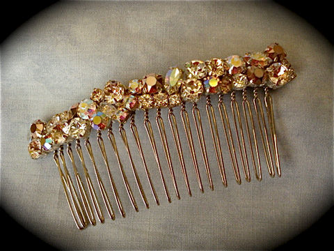 Swarovski,Rose,Gold,Crystal,Comb,Weddings,Accessories,Hair,rhinestone_comb,bridesmaid_gift,bridal_comb,wedding_accessory,bridal_accessory,Wedding_comb,Wedding_hair_jewel,Bridal_barrette,Bridal_hair_clip,rhinestone_hair_clip,rose_gold_barrette,rose_gold_comb,champagne_comb,sterling silver